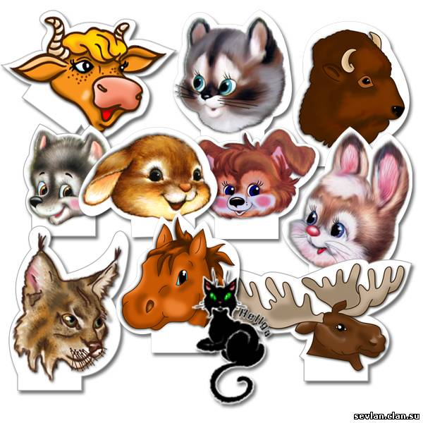 Просмотров: 3450.  Раздел.  Поделки.  Набор из 10 детских налобных фигурок 6 JPG 300 dpi А4 автор Hell_gaа.